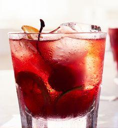 Fruity Old Fashioned |Sugar cubes + bitters + lemon wheel + lime wheel + orange wheel + maraschino cherry + grenadine + rye whiskey + clud soda + ginger ale