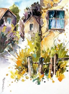 Village Life Painting by Rae Andrews