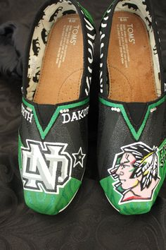 North Dakota Fighting Sioux Custom Hand Painted by Touchofjoyshoes