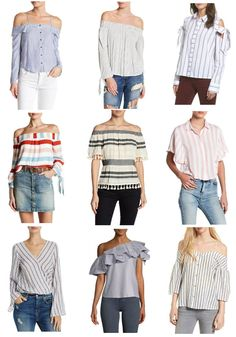 Stripes for spring, Pretty In Her Pearls, Houston Blogger, Petite blogger, Tops with stripes, Spring style #stripes #spring #springstyle #style #petiteblogger #petitestyle #fblogger #offtheshouldertops #otstops #topswithstripes