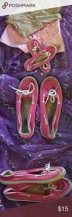 EUC??Pink loafers from Rue21? EUC?Pink loafers from Rue21. These are wonderful to wear with almost anything!  They have a white string that goes all the way around & silver eyelets that they run through.  They tie in ten front. One loose eyelet as seen in last pic(easy fix). Have been worn but have plenty of life left in them! Great deal?? Rue21 etc Shoes Flats & Loafers