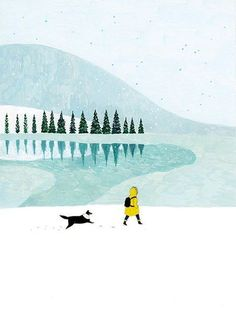 Walking in snow illustration. Art And Illustration, Illustration Inspiration, Illustrations And Posters, Dm Poster, Guache, Dog Art, Art Inspo, Painting & Drawing, Scenery