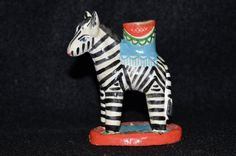 Vintage Folk Art Zebra Candlestick, Clay Hand Painted Zebra Candle Holder, African Animals Pottery, Safari Taper Candlestick, Pottery Zebra by FabulousVintageStore on Etsy