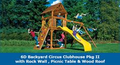 6D Backyard Circus Clubhouse Pkg II with Rock Wall, Picnic Table & Wood Roof #swingsets #rainbowplay #rainbowplaysystem #rainbowplaysystems