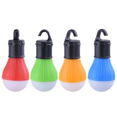 Portable outdoor Hanging 3 LED Camping Lantern Soft Light LED Camp Tools Bulb Lamp Camping Tent Fishing 4 Colors By AAA Battery