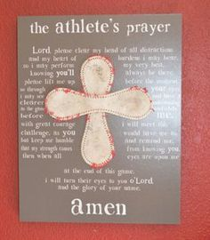 Athlete's Prayer with Mounted Ball Cross by JaninaDesign on Etsy, $45.00