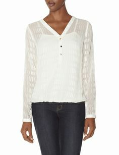Sheer Eyelashed Henley Blouse from THELIMITED.com
