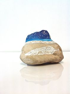 Hand Painted Starlight Night River Stone,Tribal Feather Painted Rock, Decorative Stone, Garden Stones, Acrylic Feather Stones, Constellation