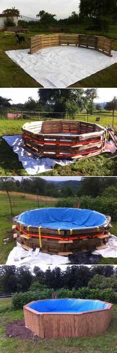 DIY How to Make Swimming Pool Out of Pallets, nice outdoor pallet projects for temporary summer fun #diy, #outdoor, #pallet => http://www.fabartdiy.com/diy-how-to-make-swimming-pool-out-of-pallets/