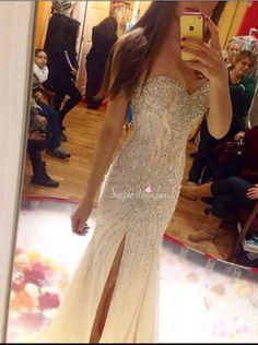 prom dress, 2016 prom dress, champagne strapless mermaid prom dress with side slit, graduation dress, party dress, evening dress, formal dress