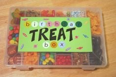 Birthday Treat Box. On birthday, students get a little baggie and get to pick and choose treats they want. awesome idea :) by evelyn