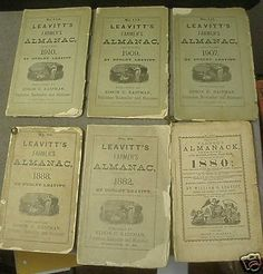 Lot of 6 Leavitt's Farmer's Almanacs; 1880, 1882, 1888, 1907, 1909, and 1910.No Reserve.Please see our other auctions of Almanacs.Thanks. My Leavitt family here in New Hampshire put out this almanac in the 1800's