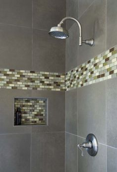 Glass tile mosaic shower nook