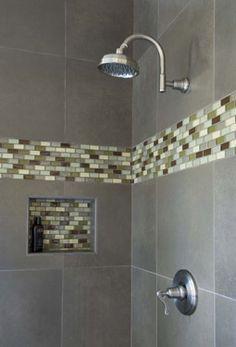 Glass tile mosaic shower nook
