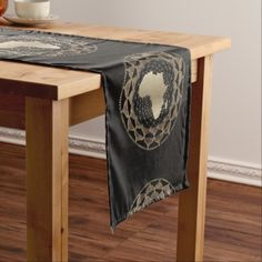 Africa in a Gold and Bronze Motif Short Table Runner