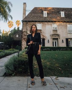 Giving my all black work ensemble a holiday lift with Song Of Style, My Style, Black Cropped Trousers, Fashion Advice, Fashion Outfits, Women's Fashion, Aimee Song, Black Underwear, Pantalon Slim
