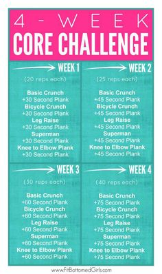 A four-week challenge that is easy to follow and will give you a stronger core in no time!