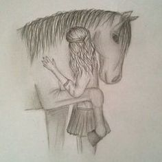 to sign - Bleistiftzeichnung - Art Sketches Girl Drawing Sketches, Girly Drawings, Art Drawings Sketches Simple, Horse Drawings, Pencil Art Drawings, Disney Drawings, Animal Drawings, Easy Drawings, Art Du Croquis