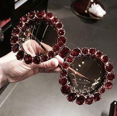 Glam sunglasses on burgundy Diy Glasses, Funky Glasses, Cute Glasses, Jewelry Accessories, Fashion Accessories, Fashion Jewelry, Cool Sunglasses, Sunnies, Fashion Eye Glasses