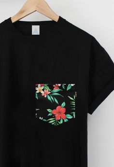 Tropical Floral Pocket Tee. Limited edition.  One off uni-sex tee.