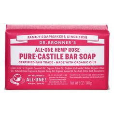 Dr. Bronner's Rose Pure-Castile Bar Soap - 5 oz.