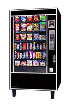 Ultra Black 6 shelves Accepts Coins Accepts $1 Bills 5 wide snack machine Multi price 30 to 40 selections Refurbished Item