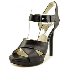 Michael Kors Women's Oksana Black Leather Platform Sandal…