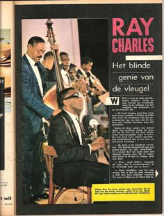 Ray Charles in feature article by Mimosa magazine (Belgium), from November 1, 1961. The color (!) photo was taken at the Antibes jazz fest in July of that year. Standing f.l.t.r.: Ed Willis, Leroy Cooper, David Newman, John Hunt, Phil Guilbeau.