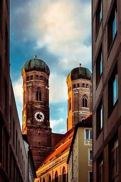 München, Bavaria, Germany - the Frauenkirche, built mid-15th century, escaped Allied bombing during WWII, and probably the most noted landmark of Munich.