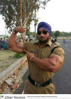 Policeman from India : punjab Indian Bodybuilder, Sexy Military Men, India Funny, Muscle Video, Gym Outfit Men, Shirt Outfit, Mustache Styles, Mr Olympia, Muscle Men