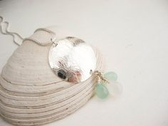 Sterling SIlver Textured Disc with Aqua by hollybluejewelry
