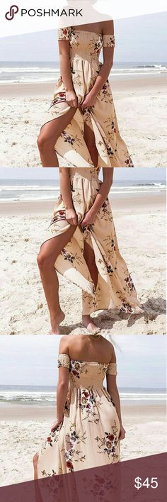 Apricot Floral Maxi Dress Off the shoulder dresses will have you love struck! This gorgeous floral dress features a sexy split down the side and is perfect for both day and night events. Smoked bodice with high elasticity for comfortable fitted wear. Empire waistline, short sleeves and flowing maxi skirt, it is simply classy. Dresses Maxi