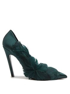 Click here to buy Balenciaga Feather-embellished satin pumps at MATCHESFASHION.COM