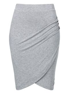 Viscose/Spandex Jersey Twist Skirt. Comfortable yet neat fitting silhouette features an elastic waistband and draped twist front. Available in Mid Grey Marle as seen below.