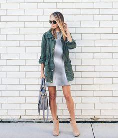 striped dress + utility jacket