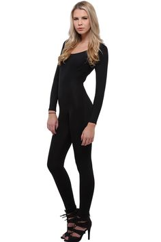 World of Leggings Women's Premium Basic Full Nylon Spandex Jumpsuit - Black -- Awesome products selected by Anna Churchill