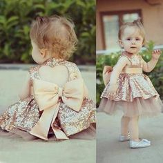 Baby Girl's Special Occasion Sequined Tulle Tutu Dress With Big Bow Cute Baby Dresses, Baby Girl Party Dresses, Birthday Girl Dress, Little Girl Dresses, Bow Dresses, Baby Girl Gowns, Baby Wedding Outfit Girl, Childrens Party Dresses, Baby Party
