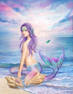 Mermaid canvas art by your favorite fantasy artists - Alena Lazareva, Amy Brown, Selina Fenech, & more! Mermaid Canvas, Mermaid Artwork, Mermaid Drawings, Mermaid Tattoos, Fantasy Mermaids, Unicorns And Mermaids, Mermaids And Mermen, Real Life Mermaids, Mermaid Images