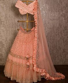 dress Indian party wear - Peach net lehenga choli dupatta party wear wedding wear indian dress custom stitched made to order dress for women's. Indian Lehenga, Net Lehenga, Bridal Lehenga Choli, Anarkali, Blue Lehenga, Lehenga Wedding, Lehenga Gown, Indian Wedding Outfits, Bridal Outfits