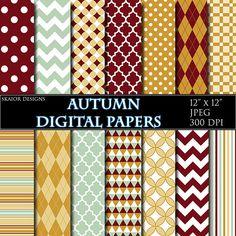 Autumn Digital Papers Geometric Red Yellow Green Scrapbook Background Pattern Chevron Quetrefoil Plaid #scrapbooking #autumn #geometric