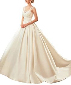 fd7977913a Lavaring Womens Aline Round Neck Backless Wedding Dress Spring New Arrival  2018     Check