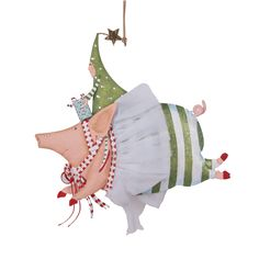 "Patience Brewster ""Joyful Flying Pig with Christmas Tree Rider"" Tin Ornament $31.99 -   Available at  SHOPBLUEHORSE.COM #christmas #pig #flyingpig #ornament #holiday #decor"