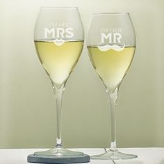 The sleek sophisticated design on our His and Hers Personalised Royale Wine Glass Set makes this the perfect present for any modern pair Whether they Unusual Wedding Gifts, Engraved Wedding Gifts, Wedding Gifts For Bride And Groom, Mother Of The Groom Gifts, Personalized Anniversary Gifts, Father Of The Bride, Bride Gifts, Personalized Wedding, Bride Groom