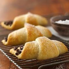 Chocolate-Filled Crescents - or do PB , or PB & Chocolate chips, or Cream cheese, or cream cheese & jam, or cinnamon, sugar, and sauteed apples.... the possibilities are endless!! Allrecipes.com
