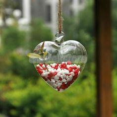 Hanging Glass Flowers Plant Vase Terrarium Container Home Garden Decor Heart