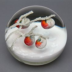 "Glass paperweight entitled ""First Snow in Kyoto,"" by Daniel Salazar"