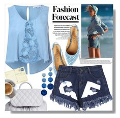 """""""Fashion Forecast: Beach Blues"""" by queenvirgo ❤ liked on Polyvore featuring bleu, Glamorous, Vera Bradley and Rebecca de Ravenel"""