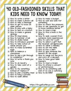 40 Old-Fashioned Skills that Kids Need to Know TODAY! - Timeless practical life skills that kids need to learn, many of which are being forgotten in our digital age. by carlani Kids And Parenting, Parenting Hacks, Peaceful Parenting, Gentle Parenting, Parenting Quotes, Teaching Kids, Kids Learning, Parents, Raising Kids