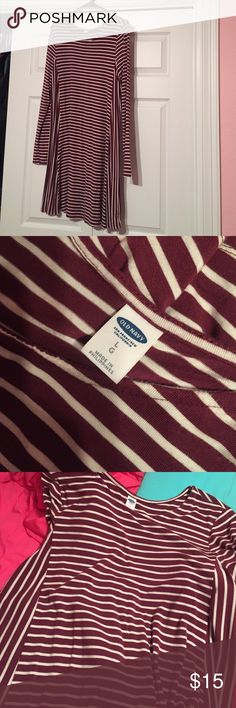 Long sleeve swing dress Burgundy and white striped long sleeve swing dress from Old Navy. Super flattering. In great condition! Old Navy Dresses Long Sleeve