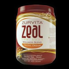 Zurvita Zeal for Life 30 Day Wellness Canister, Tropic Dream, 420 Grams Zeal Wellness, Wellness Formula, Nutrition Drinks, Healthy Drinks, Blinde, Nutritional Supplements, Superfood, Vegan Gluten Free, Health And Beauty